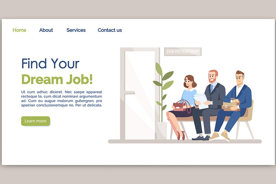 Find your dream job landing page