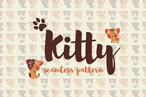 Kitty Watercolor Seamless Pattern