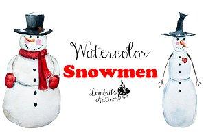 Watercolor snowmen (EPS, PSD, PNG)