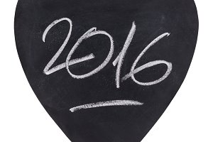 2016 on a heart-shaped slate