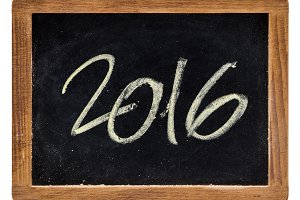 Year 2016 written on a slate