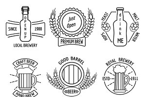 Line logo templates for beer house