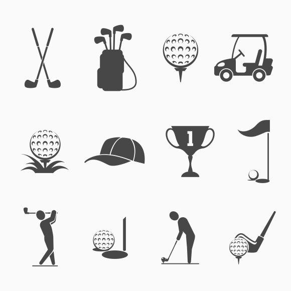 Golf icon set ~ Graphics ~ Creative Market