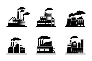 Factory and industrial building icon