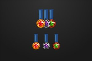 Set of 3 medals with stars