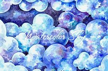 Watercolor cloudy sky background