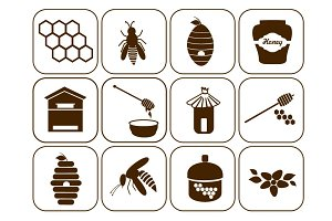 Honey and bee icons set