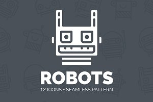Robots: 12 icons & seamless pattern