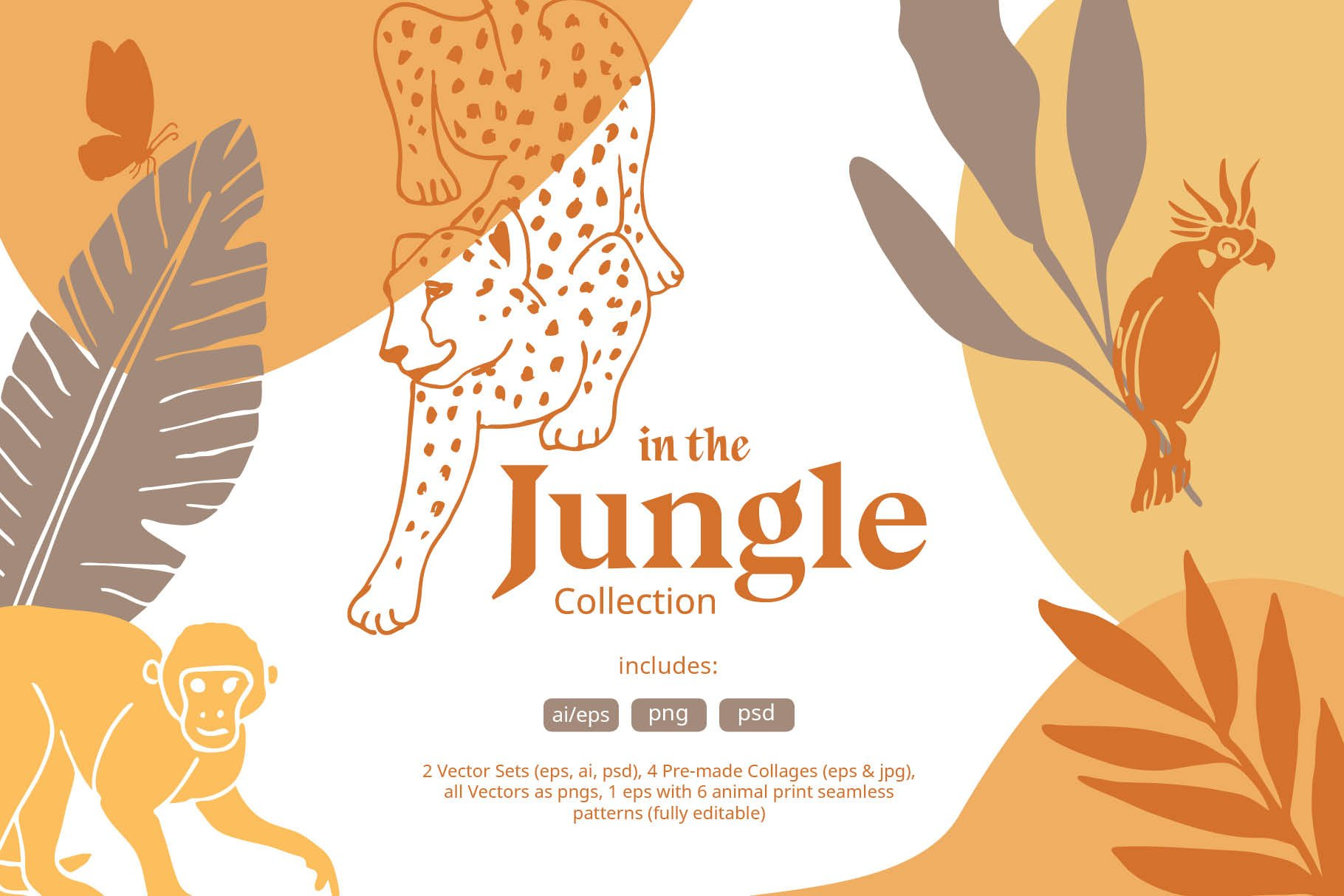 Jungle Animals Vector & Pattern Set | Pre-Designed Photoshop Graphics ~ Creative  Market
