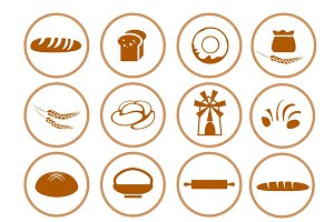 Bread  flat icons