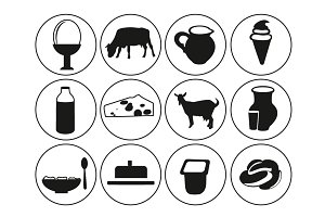 Dairy products icons