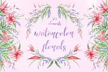 Watercolor florals set
