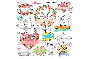 66 unique Wedding Floral clipart