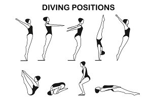 Set of diving positions
