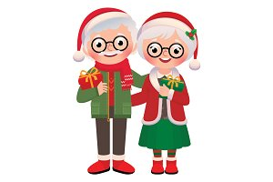 Senior Couple with Christmas Gifts