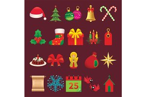 Set Icons and Symbols of Christmas
