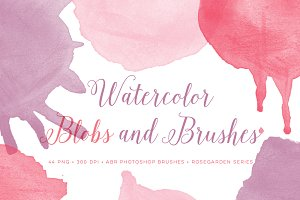 Watercolor Brushes Blobs & Splatters