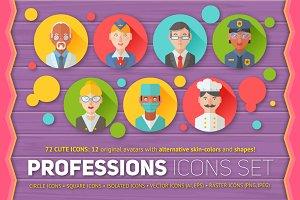 Flat Professions Avatars Icons