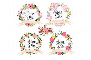 14 Wedding Floral clipart elements