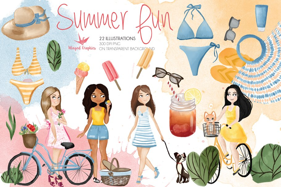 Summer fun : 22 watercolor drawings