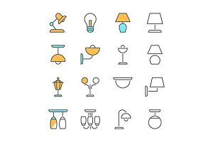 lamp line flat icons