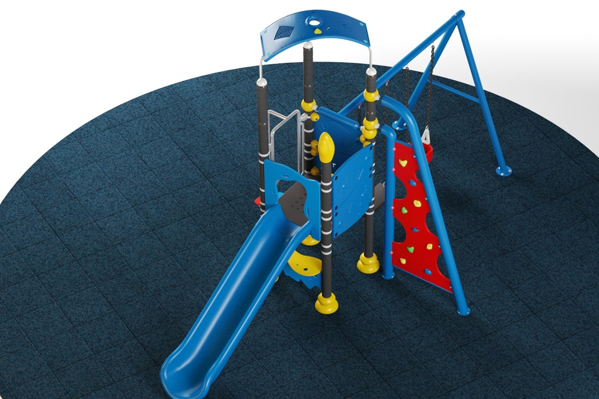Kids playground equipment with slide