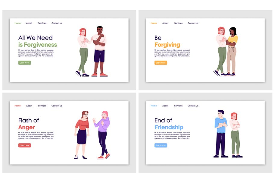 People behavior landing pages set