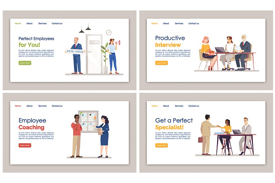 HR agency landing pages set