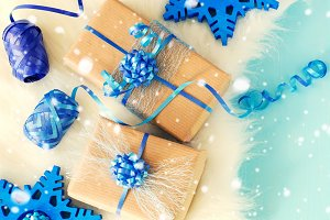 Vintage chrismtas gift boxes on blue