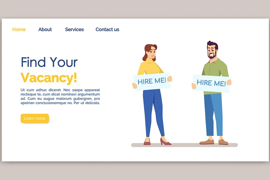Find your vacancy landing page