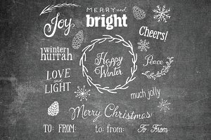 22 Hand Lettered Holiday Overlays
