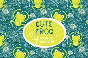 Cute frog seamless patterns