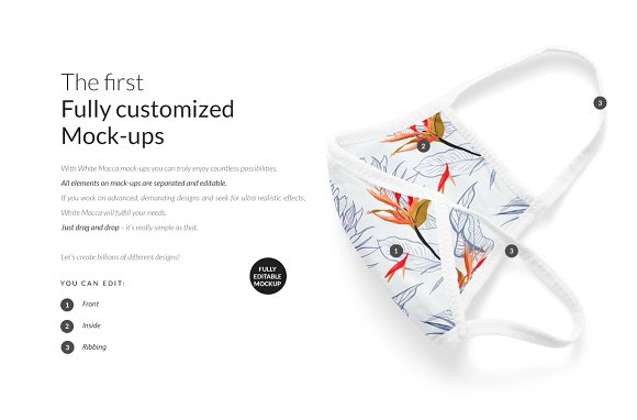 Cotton Face Mask Mock-ups Set in Print Mockups - product preview 1