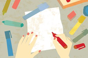 Vector art drawing hands