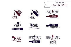 Bar and cafe label, logo