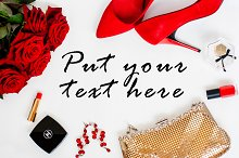 Red shoes and roses mock up image