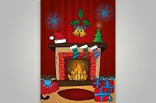 Christmas card, fireplace. Vector.