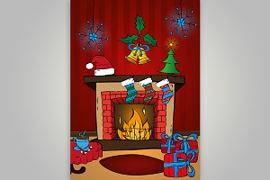 Christmas card, fireplace. Vector.