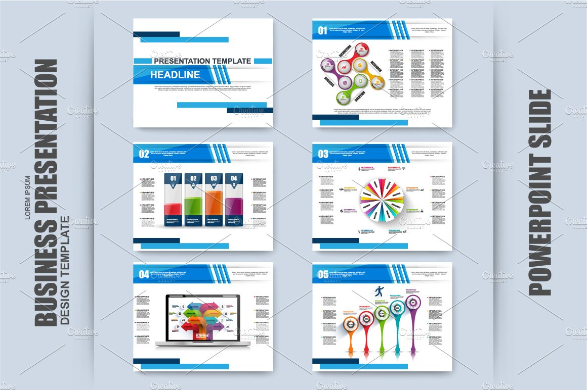 set of infographic powerpoint slide presentation templates