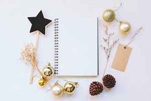 Notebook and christmas ornament