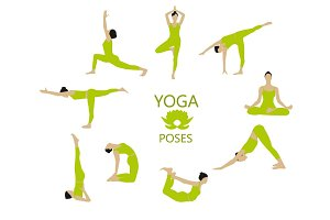 Yoga poses woman color set