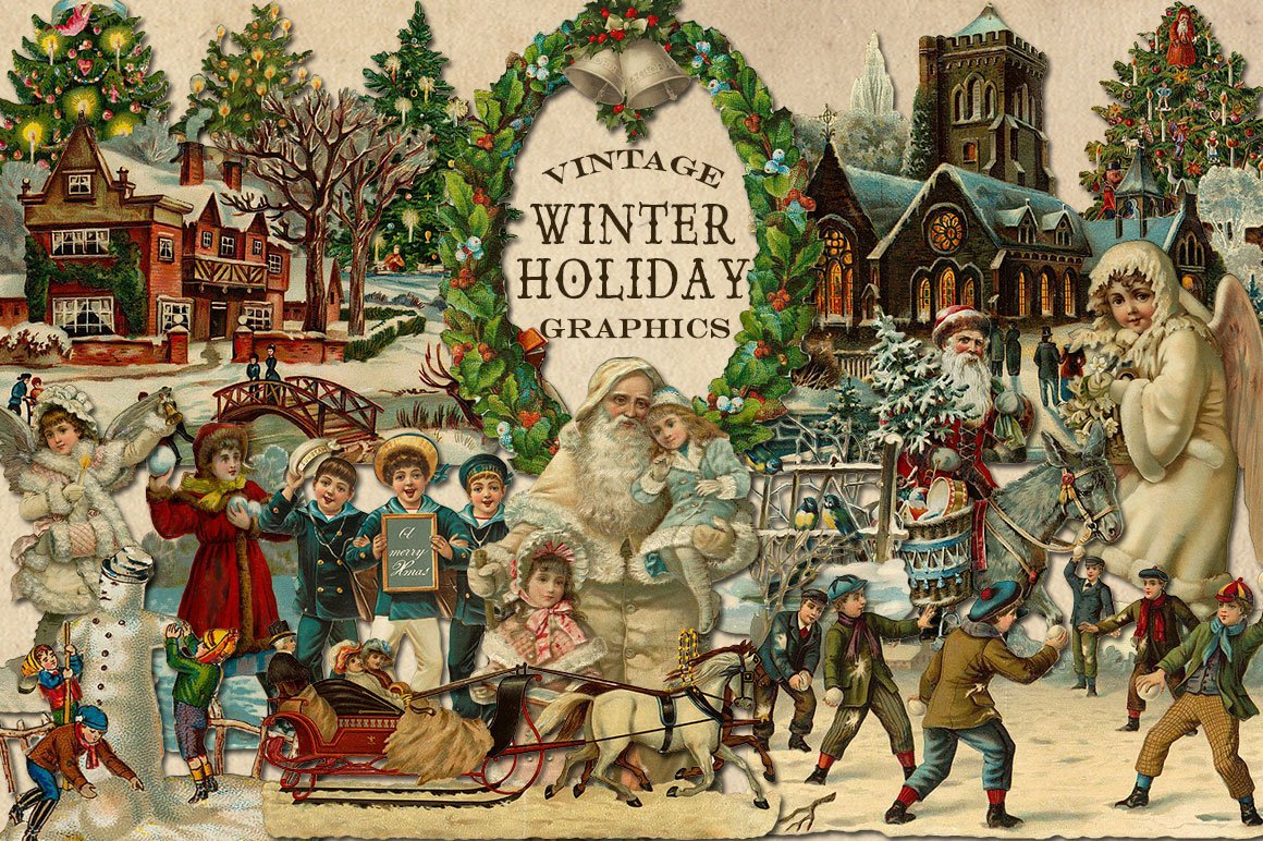Vintage Winter Holiday Graphics ~ Graphic Objects ...