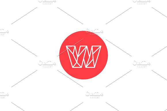 Simple line letter W logotype