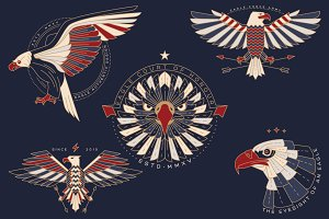 Thin line eagle labels