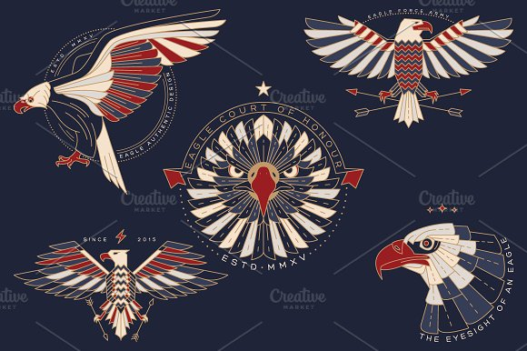 Thin line eagle labels in Logo Templates