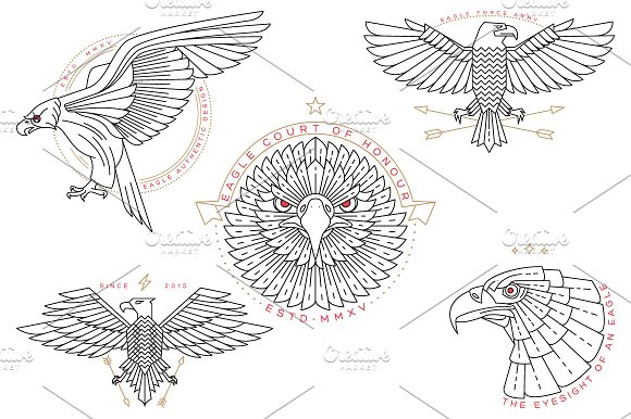 Thin line eagle labels in Logo Templates - product preview 1