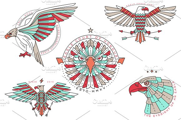 Thin line eagle labels in Logo Templates - product preview 2