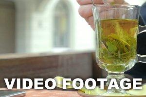 Stir Sugar In Green Tea