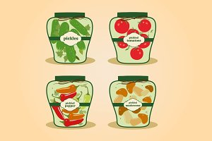Canned vegetables. Pickle jars set
