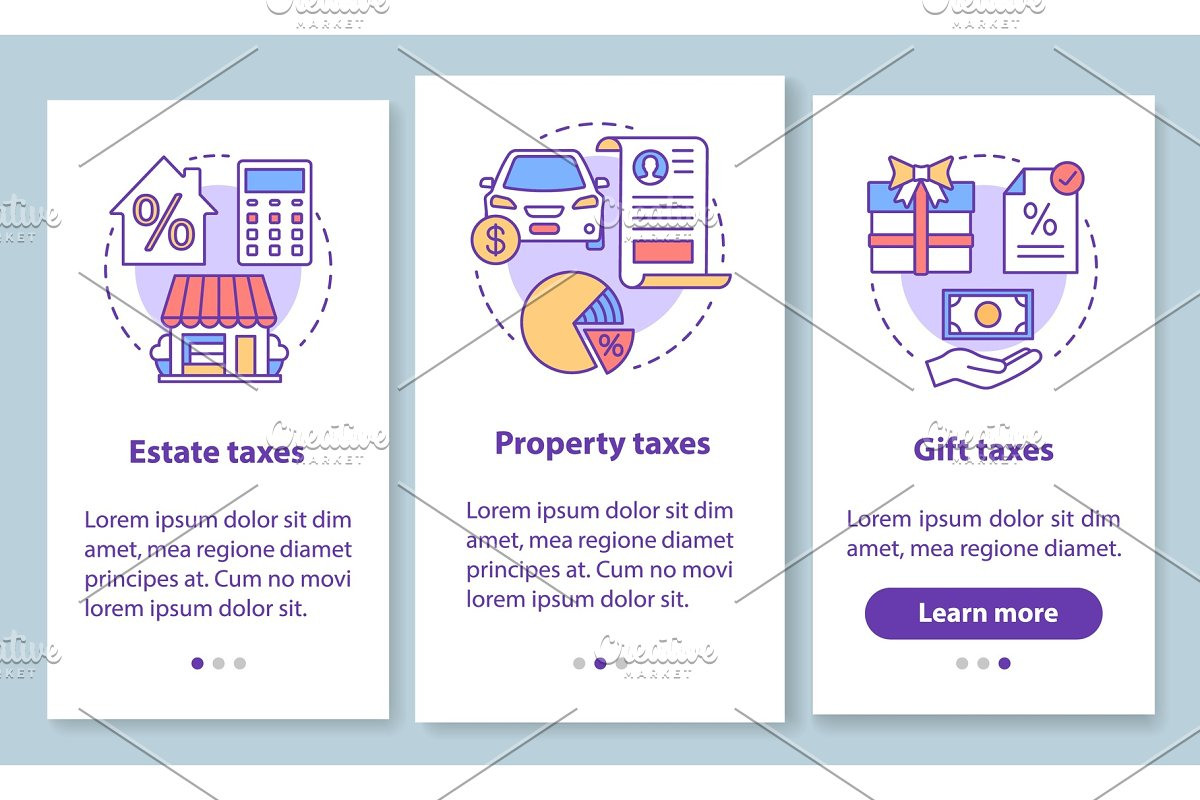 US taxes types mobile app pages